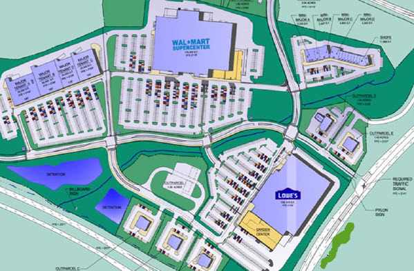 major shopping center development in weaverville anchored by wal mart